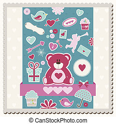 Valentines Day scrapbook card - Vector illustration of...