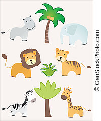 Safari animals set for all kind of prints