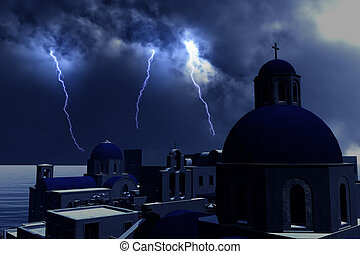 Thunderstorm Lightnings over Greece Concept for economical...