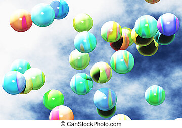 Colorful Balls Floating in the Air