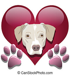 Love for dogs - Illustration of dog in the heart as a symbol...