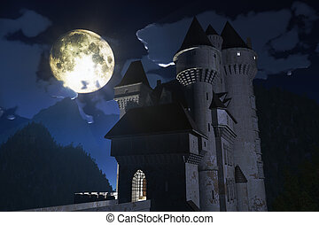 Castle in the Mountains - Castle at Night in the Mountains...