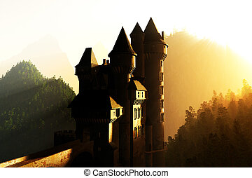 Castle in the Mountains - Castle in the sunset sunrise in...