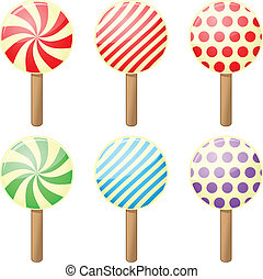 Candy - Set of six round candies different colors