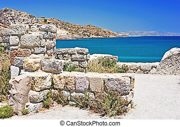 Greek landscape - Old ruins and turquoise sea