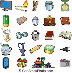 Set of home related objects - Set of sketch, vector...