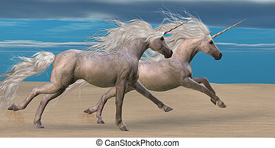 Unicorns - Two white unicorn horses gallop together in the...