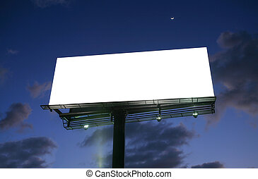 Billboard at sunset with new moon