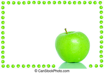 Green apple frame - Bright green apple frame with a place...