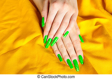 Bright green manicure on real nails