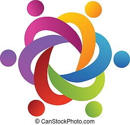 Teamwork people around in a hug logo vector