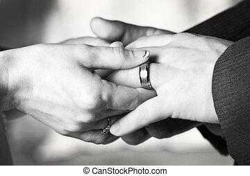 黑色, 白色, 戒指, 婚禮