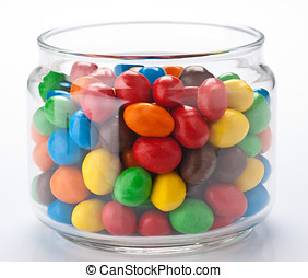 group colored chocolate balls; within a canister