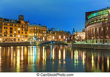 Winter night scenery of Stockholm, Sweden - Winter night...
