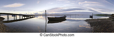 Boats and Jetty at Sunset - dorset, coast, sea, sunset,...