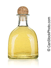 Bottle of gold tequila Isolated on white background