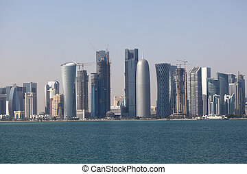 Skyline of the Doha downtown district Dafna. Qatar, Middle East