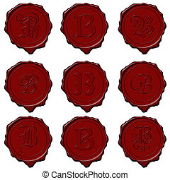 Wax seal alphabet letters - B - Complete alphabet letters on...