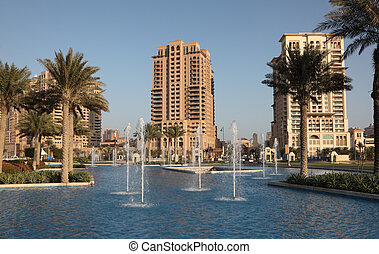 Fountain at The Pearl, Porto Arabia, Doha Qatar