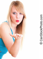 beautiful young woman blowing a kiss - beautiful young...