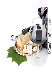 Red wine and cheese. Closeup. Isolated on white background