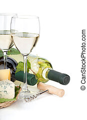 White wine, cheese and grape Closeup Isolated on white...