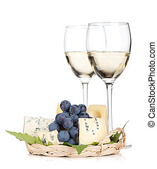 Cheese, grape and two white wine glasses. Isolated on white...