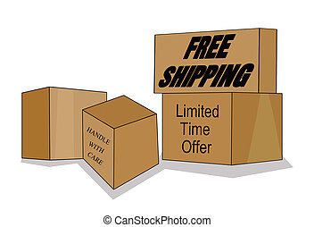 Free Shipping Design - Illustration of boxes promoting free...
