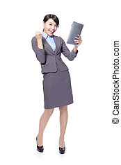 business woman excited using Tablet PC