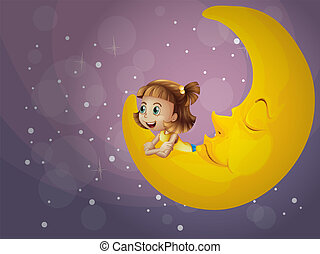 A girl sitting on the moon