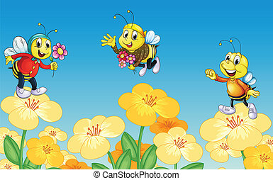 Bees and flowers - Illustration of bees and flowers in a...