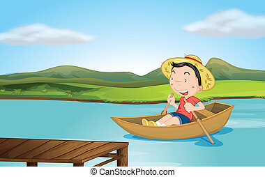 A boy rowing a boat - Illustration of a boy rowing a boat on...