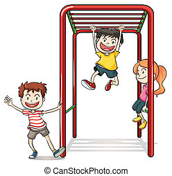 Kids playing with a monkey bars - Illustration of kids...