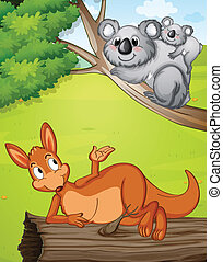 A kangaroo and koalas - Illustration of a kangaroo and...