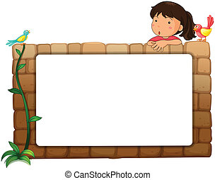 A white board, a girl and birds - Illustration of a white...