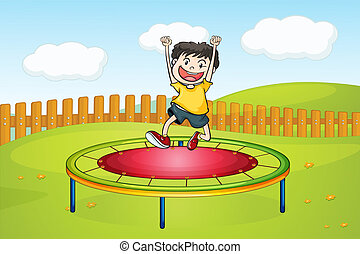 A boy jumping on a trampoline - Illustration of a boy...