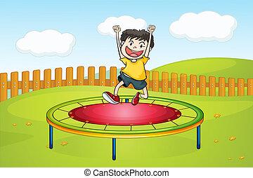 A boy jumping on a trampoline - Illustration of a boy...
