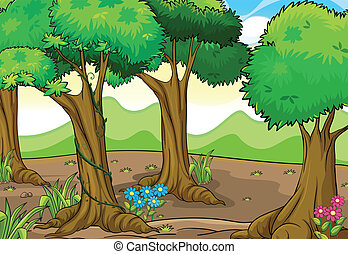 Trees and flowers - Illustration of trees and flowers in a...
