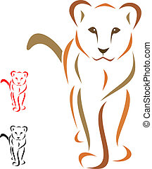 lion - Female lion standing facing - vector