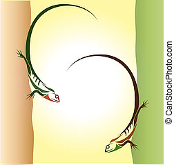 Lizard two climbers on the wall - vector