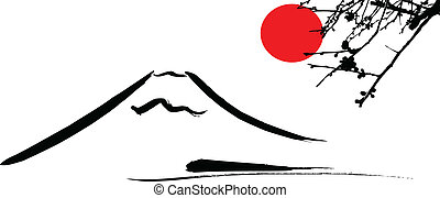 View Mount Fuji Kyoto and Osaka flowers red sun, vector