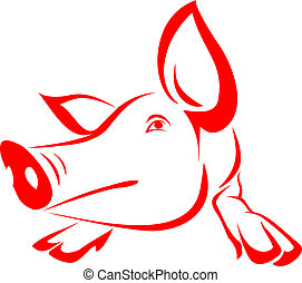 pig  - Red pig on a white background - vector