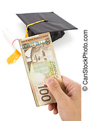 Black Mortarboard and canadian dollar, concept of education...