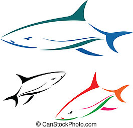 shark - Vector illustration of shark banner On white...