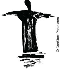 Statue Cristo Redentor painted with a paintbrush