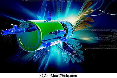 Shock Absorber - Digital illustration of Shock absorber in...