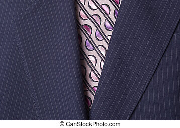 Suit Jacket and Tie - Blue Pinstriped Men's Suit Jacket and...