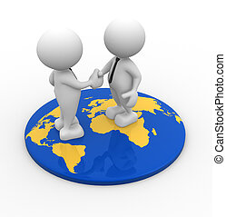 World map - 3d people - men, person standing on world map...