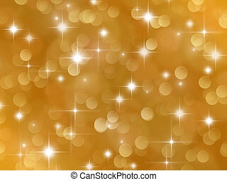 Golden background with boke effect and stars - Abstract...