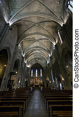 Catholic cathedral interior. Salon de Provence. France.